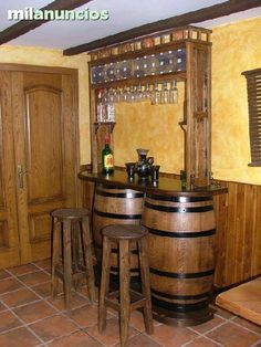 """Check out our site for additional details on """"bar furniture cabinet"""". It is actually a great area for more information. Whiskey Barrel Bar, Wine Barrel Table, Barrel Sink, Wine Barrel Furniture, Bar Furniture, Basement Bar Designs, Home Bar Designs, Barra Bar, Barris"""