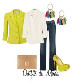 Blazer Casual by outfits-de-moda2 on Polyvore featuring moda, The Row, Precis Petite, 7 For All Mankind, Christian Louboutin, Yves Saint Laurent and Red Herring