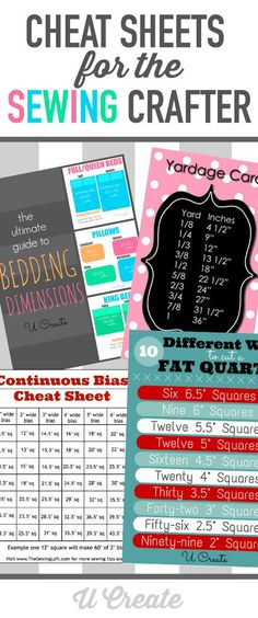 Cheat sheets for the sewing crafter!                                                                                                                                                                                 More