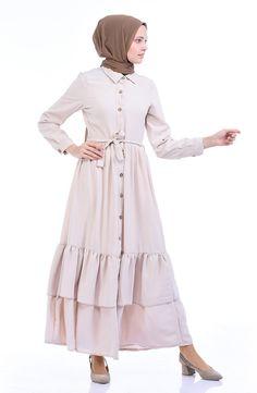 Sefamerve, Boydan Düğmeli Kuşaklı Elbise 1285-07 Bej Color Tag, Beige Dresses, Collar Shirts, Evening Dresses, Raincoat, Shirt Dress, Detail, Long Sleeve