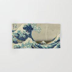 The Classic Japanese Great Wave Off Kanagawa Print By Hokusai Hand & Bath Towel by Podartist - Hand Towel Rogue Wave, Japanese Artwork, Great Wave Off Kanagawa, Katsushika Hokusai, Fine Art Gallery, Hand Towels, White Cotton, Just For You, Waves