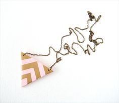 Geometric Striped Triangle, Polymer Clay Pendant Necklace.