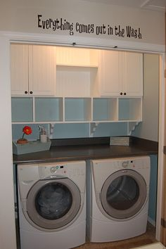 small laundry closet with built-in cubbies and cabinets, The Sparitarian - Home Decor Pin Laundry Room Organization, Laundry Room Design, Laundry In Bathroom, Laundry Area, Laundry Storage, Garage Laundry Rooms, Laundry Station, Laundry Center, Laundry Room Shelves