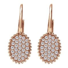 14k Pink Gold Diamond Drop Earrings 0.30 ct $760