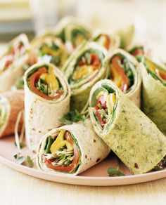 Vegan Cream Cheese Veggie Wraps. A super easy vegan lunch perfect for taking on the go. Fresh Rolls, Mexican, Tacos, Mini Party Sandwiches, Cheesesteak