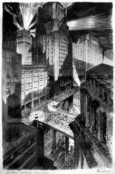Architecture - architectural drawings-art. — Metropolis  Drawings  (film 1927 Fritz Lang)  (7) ...