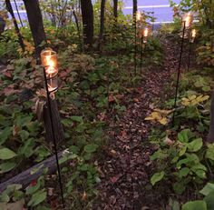hiking between your campsite and your car, line the path with our spirals for safe, bight lighting! www.glowinthegarden.com #GlowInTheGarden #StyleYourSpiral #hiking #camping #outdoorlighting #spirals #candles #hikingtrails #campinglights