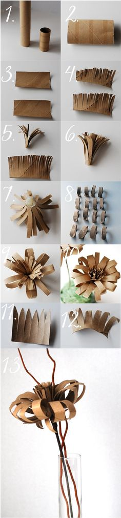 Paper Flower made from a recycled wrapping paper tube and a recycled toilet paper roll. So creative! #reusetoiletpaperroll #toiletpaperrollcraft #paperflowercraft