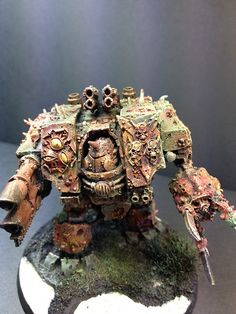 Forge World Nurgle Dreadnought painted as a member of the Death Guard Traitor Legion. Work in progress. Hoping to finish this by Monday!