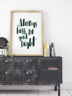 Always Kiss Me Goodnight Print Green Watercolor #Quote #Love Gift Oversized Word Art Bedroom Large Wall Art 8x10 12x16 16x20 18x24 24x36 Print by WhitePrintDesign on Etsy