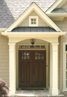 Decorating: Traditional Exterior With Traditional Double Front Doors For Homes, front doors design, Double doors with glass pattern ~ Oiprs Exterior Paint Colors, Exterior House Colors, Exterior Design, Exterior Siding, Paint Colours, Double Doors Exterior, Double Front Doors, Front Door Design, Traditional Exterior