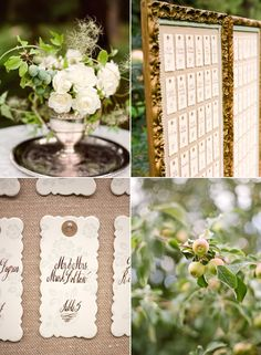 seating card display - use a metal frame with pins (vertical) or tray (flat) with a bed of baby's breath/flowers