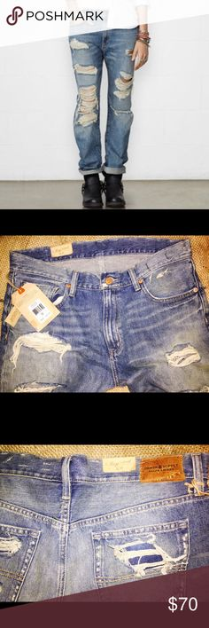 """Ralph Lauren Delmhorst Destroyed  BF Jeans Sz 29 ❤️Denim & Supply Ralph Lauren Delmhorst Destroyed Boyfriend High - Waist Boyfriend Jeans Sz 29. NWT!! Love this look of factory destroyed and destructed jeans. Purchased a couple months ago and never wore. Lots  of style, edge, and sexiness in these! New with tags attached. Paid 129$  Measurements: Waist 15.5""""   Rise 11""""   Inseam  28"""" Denim & Supply Ralph Lauren Jeans Boyfriend"""