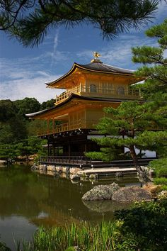 Kinkakuji Golden Pavilion, Kyoto, Japan is a Zen Buddhist temple originally built around 1400.  An arsonist set it on fire in 1950, and it was rebuilt in 1955.  It is said to be a copy close to the original.  by Jeff Laitila.