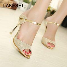 e017337a32fce8 Shoes Gold Silver Stiletto High Heels Peep Toe Women Heel Sandals Ladies  Shoes US  5.44 Womens