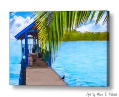Bliss Found On A Tropical Pier - Nicaragua art by Mark E Tisdale - a beautiful waterscape from the Solentiname Islands in Lake Nicaragua
