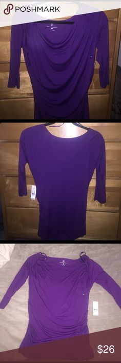 New York & Company XS purple cowl neck shirt New York & Company purple cowl neck jersey shirt brand new with tags, never worn, size XS. Shirt has 3/4 sleeves, shirring down both sides, is a nice light material that's very soft to the touch with a solid back. Shirt is a drapey material that can shift to how you want to wear it. It's looser on top and more fitted towards the bottom. New York & Company Tops