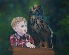 Max & the Owl, oil on canvas, Daria Solar Art, a painter from the #lovingvincent team, http://www.dariasolar.eu/ #children #owl