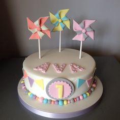 Pinwheels and bunting cake