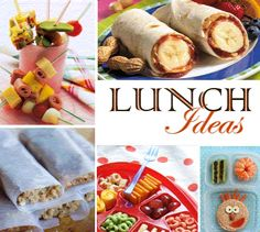 Lunch Ideas (lots) - sandwich insides on a skewer, PBJ & Bannana roll, tanagram sandwich, how's your day survey, etc