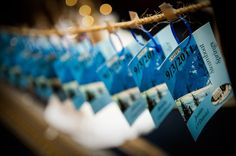 Unique ski pass escort card idea from a Winter Wonderland Bat Mitzvah {Photo by Bryan Blanken of Freed Photography}