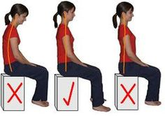 How to correct your sitting posture.  I see so many people in my teaching practice who hurt their back by either sitting poorly (left) or trying to sit up straight (right). The posture in the middle is far more comfortable and easier to do.