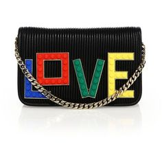 Les Petits Joueurs Janis Micro Rainbow Love Clutch (£550) ❤ liked on Polyvore featuring bags, handbags, clutches, 100 leather handbags, hand bags, real leather purses, chain handle handbags and leather clutches