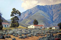karoo farmhouses - Google Search Landscape Art, Landscape Paintings, Art Paintings, Africa Painting, Artistic Tile, South African Artists, Art Gallery, Abstract, Pastel