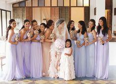 Lilac/lavender/purple bridesmaid dresses. The Wedding Scoop Spotlight: 8 Bridesmaid Dress Trends We Love #bridesmaid #bridesmaids #radiantorchid