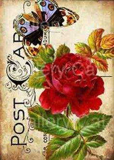 Victorian Roses with Butterfly on old postcard digital collage sheet