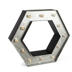 """LED Lighted Black And Silver Metal Wall Shelf With Clear Bulb Caps. Hexagon Shape, 20.5""""L. Extended Life Battery Box With 5 Hours On/19 Hours Off Timer Feature. On/Timer/Off Switch On Side. Requires 3"""