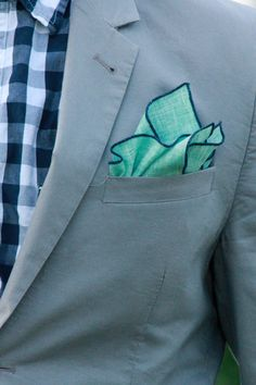 Pocket Square Mint with Navy Piping by SirChamber on Etsy