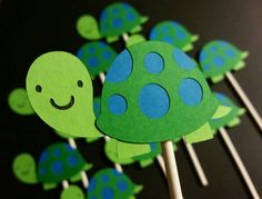 Turtle Cupcake Toppers turtle theme tortoise by BellasPerfectParty