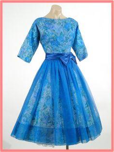 50s 60s Vintage Blue Chiffon Rose Print Taffeta Full Skirt Party Dress