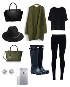"""Casual outfit for a cold rainy day"" by amandahill18 ❤ liked on Polyvore featuring Hunter, NIKE, Chicwish, MICHAEL Michael Kors, BeckSöndergaard, Tommy Hilfiger and Michael Kors"