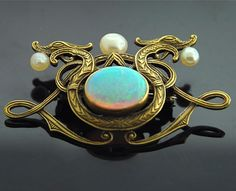 Art Nouveau Dragon Brooch - Yellow Gold with Opal and Pearls
