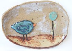 Brown Whimsical Blue Bird Soap Dish  Ceramic by ShoeHouseStudio