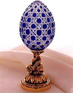 Athenee Blue Egg by * Carol * Fabrege Eggs, Faberge Jewelry, Carnival Masks, Egg Art, Egg Shape, Egg Decorating, Egg Shells, Easter Eggs, Crystals
