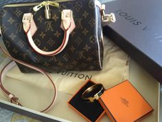 Louis Vuitton Speedy 25 Bandouliere Monogram and Hermes black and gold clic clac