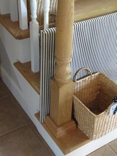"DIY ""doggie"" gate for the stairs using pvc pipe and fabric.  :)"