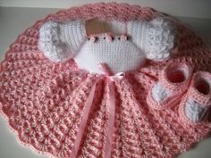 Crochet baby dress and booties, pink and white baby dress