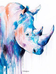 Rhinoceros watercolor painting print safari art por SlaviART