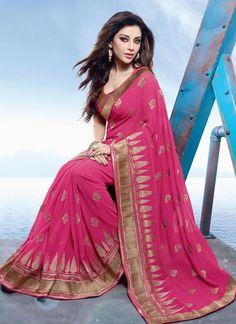 Ruritanian Hot Pink Georgette Designer Saree
