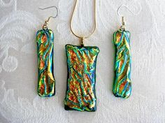 Dichroic Earring and Necklace Set by Hummingbird Art Glass Studio