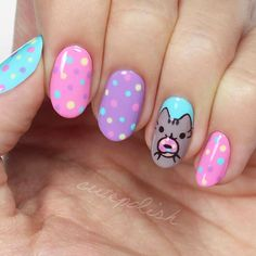 Amazing Cat Nails Designs For You. Cat nails designs are the ones that you can`t miss trying. Cat Nail Designs, Easter Nail Designs, Easter Nail Art, Best Nail Art Designs, Cute Summer Nail Designs, Kawaii Nail Art, Cat Nail Art, Cat Nails, Birthday Nails
