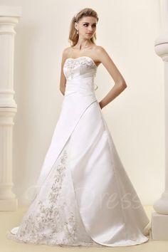 TBDress - TBDress Princess Strapless Chapel Embroidery Wedding Dress - AdoreWe.com