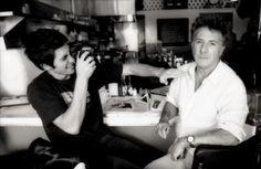 Jake Gyllenhaal taking a picture of Dustin Hoffman