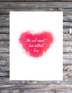 DIY Watercolor Heart Print with inspirational saying