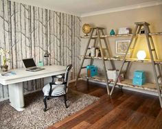 Ladder Shelves...very cool. Home Office Design, Pictures, Remodel, Decor and Ideas - page 18