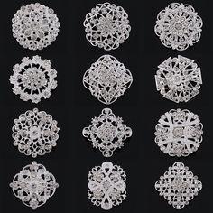 도매 12 개 혼합 크리스탈 디아 실버 도금 라인 석 꽃 브로치 핀 또는 웨딩